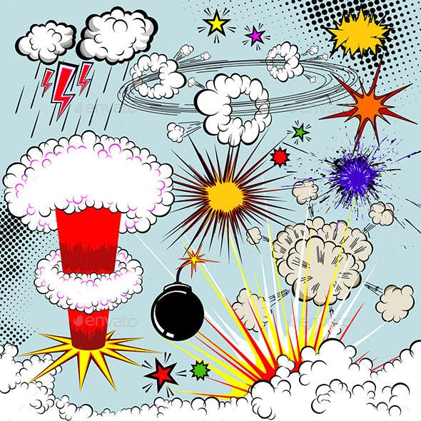 Vector Comic Book Explosion Elements. Cartoon Symbols and Icons