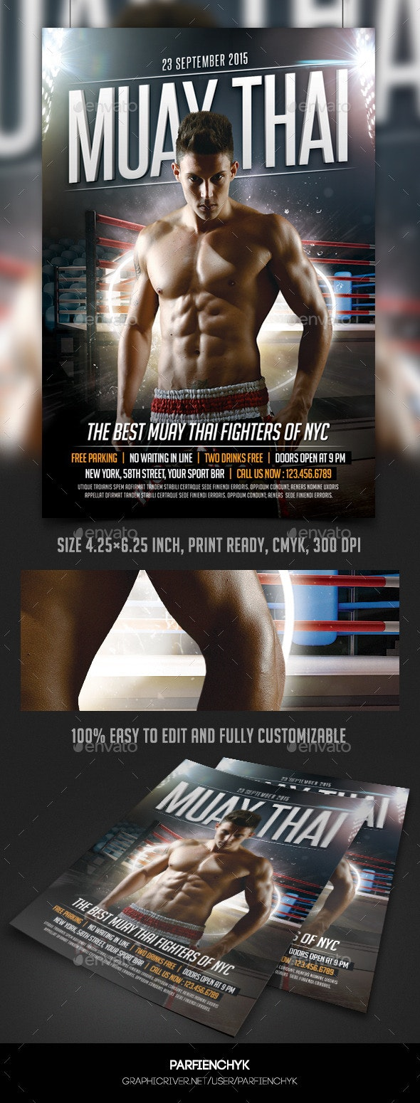 Muay Thai Fight Flyer Template - Sports Events