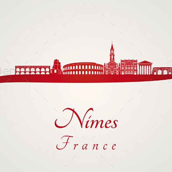 Nimes Skyline in Red