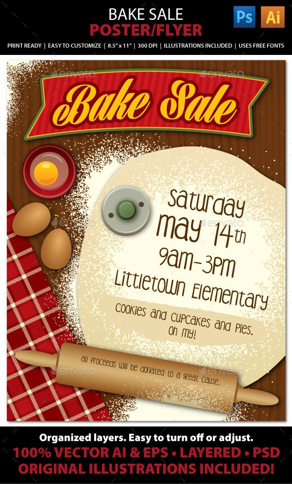 Bake Sale or Bakery Poster or Flyer - Events Flyers