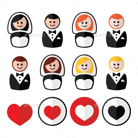 Groom and Bride Wedding Icons