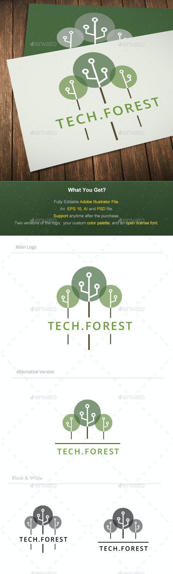 Tech Forest Logo - Nature Logo Templates