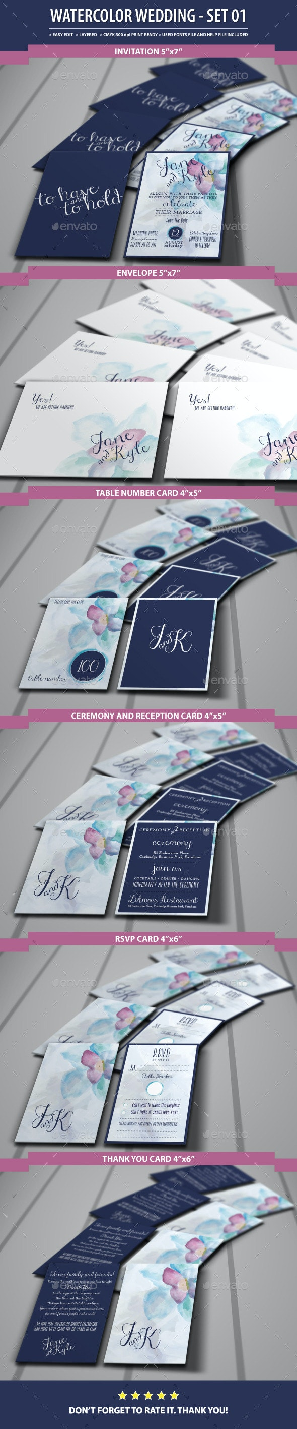 Watercolor Wedding  - Set01 - Weddings Cards & Invites