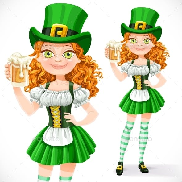 Girl Leprechaun Offers a Beer