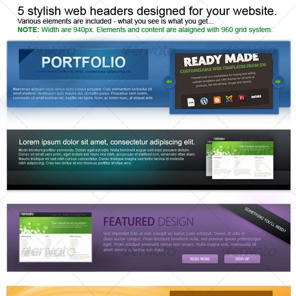 5 stylish web headers
