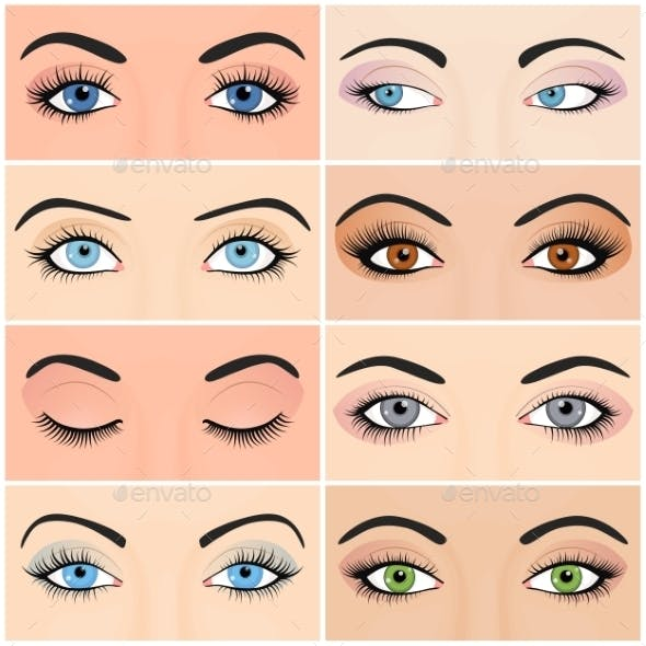 Set of Female Eyes and Brows Image