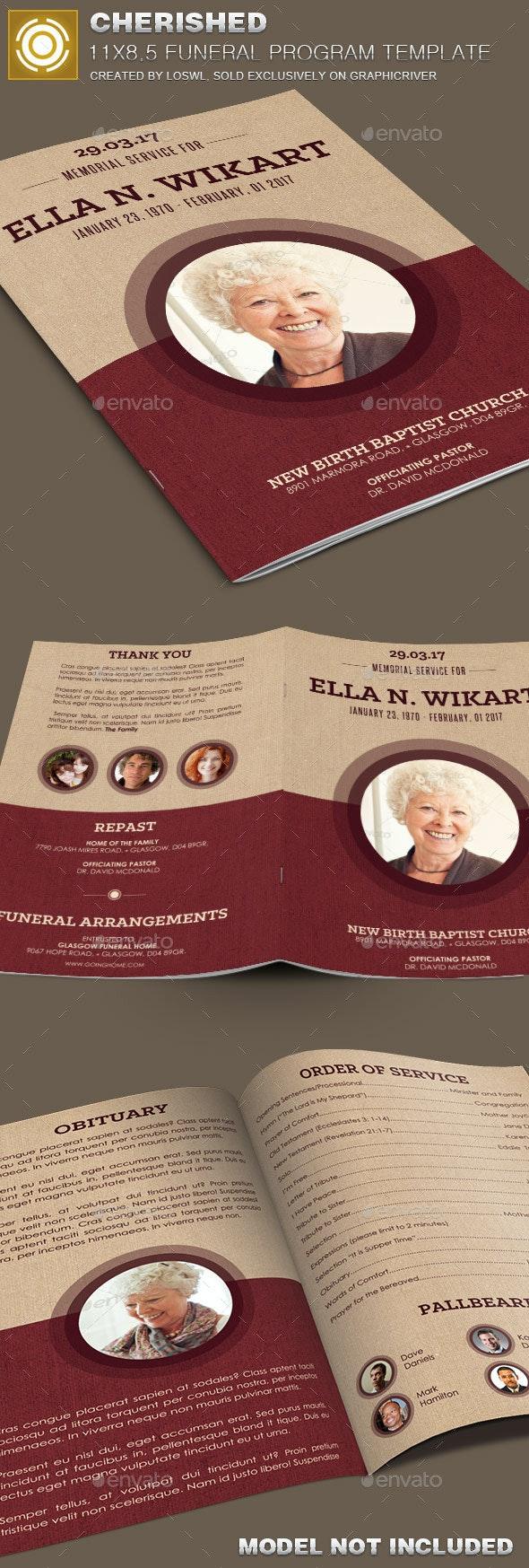 Cherished Funeral Program Template  - Informational Brochures