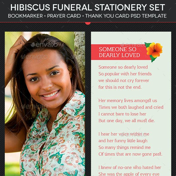 Hibiscus Funeral Stationery Template Set
