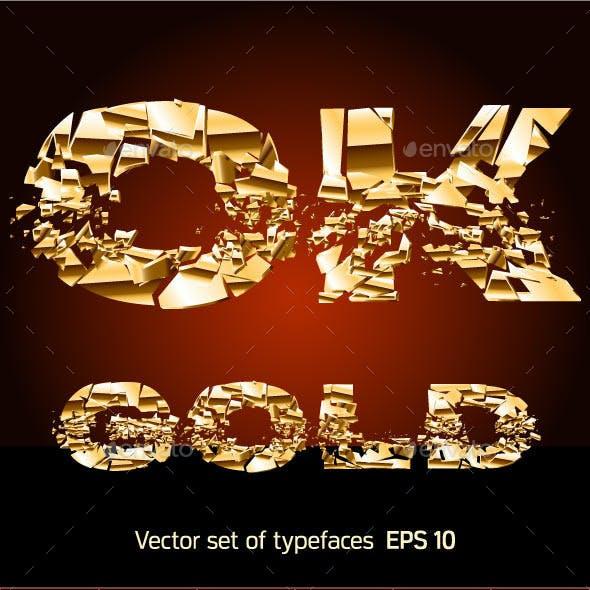 Set of a Broken Golden Alphabet Letters
