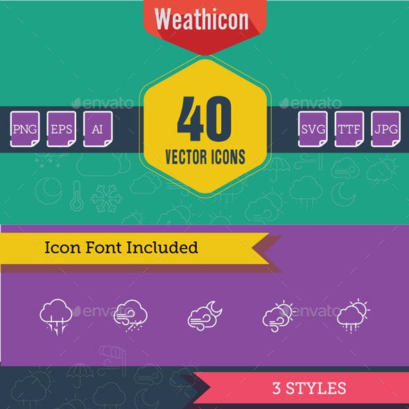 Line and Flat Weather Icon Set