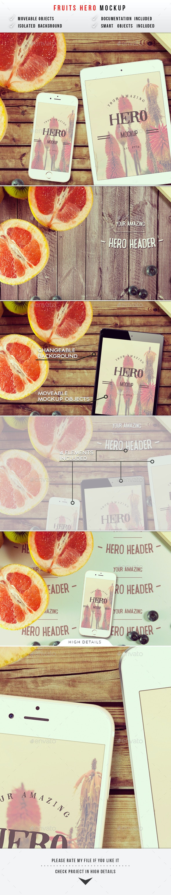 Fruits Hero Header Mockup - Hero Images Graphics