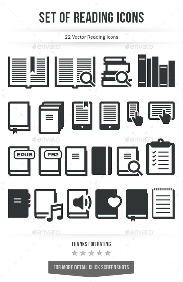 Set of Reading Icons