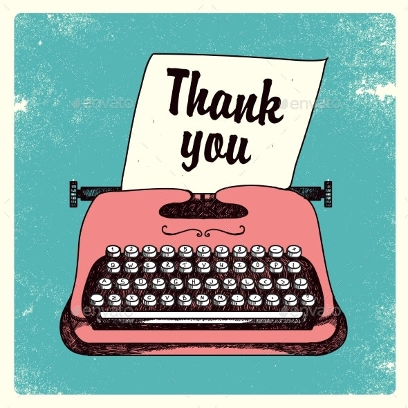 Vector Retro Typing Writer, Thank You Card - Computers Technology