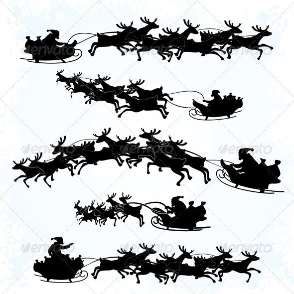 Santa Sleigh Silhouettes - Characters Vectors