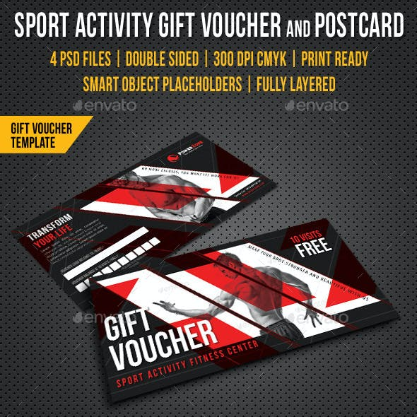 Sport Activity Gift Voucher and Postcard V02