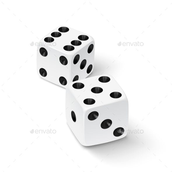 Realistic White Dice Icon