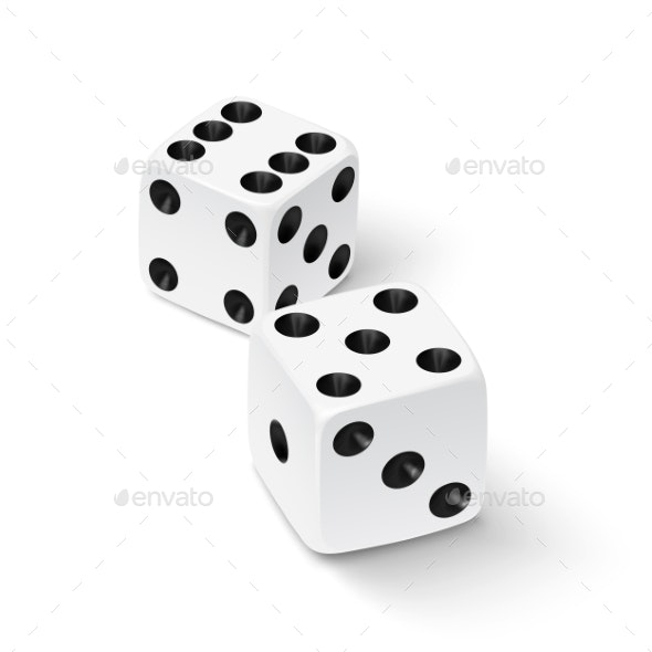 Realistic White Dice Icon - Man-made Objects Objects