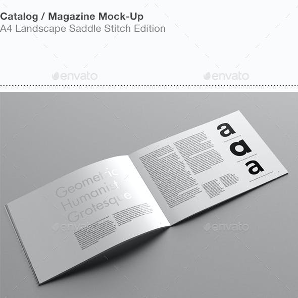 A4 Landscape Catalog / Magazine Mock-Up