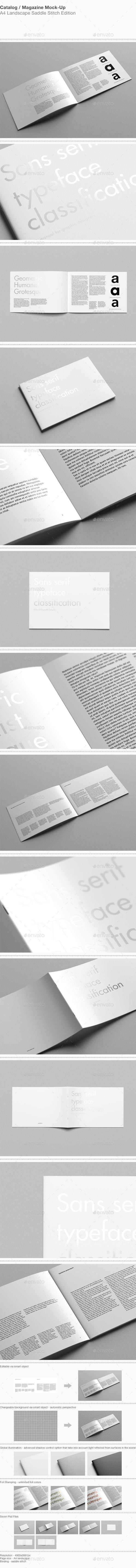 A4 Landscape Catalog / Magazine Mock-Up - Magazines Print