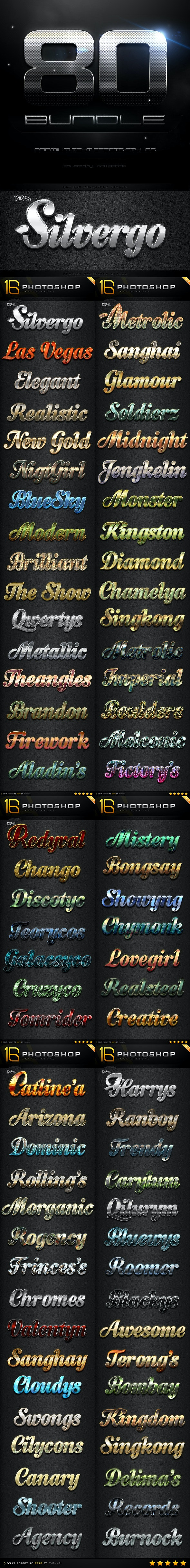 80 Photoshop Text Effects Bundle - Text Effects Styles