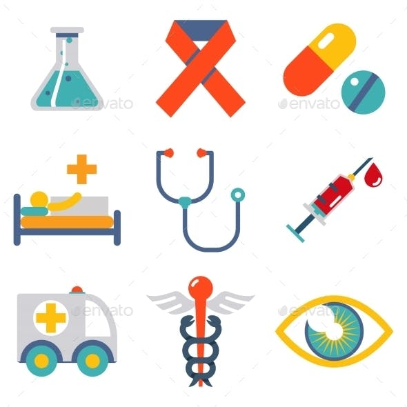 Flat Health and Medical Icons