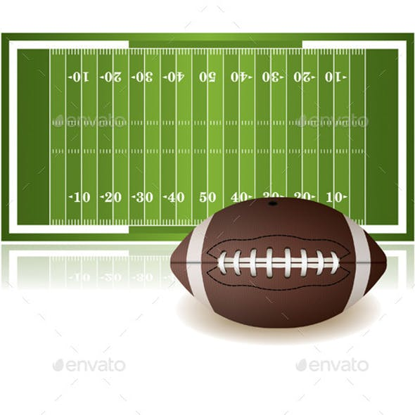 American Football Field and Ball Isolated