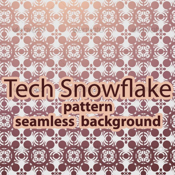 Tech Snowflake Pattern / Seamless Background