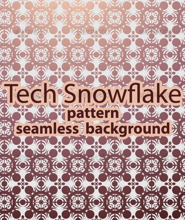 Tech Snowflake Pattern / Seamless Background - Patterns Decorative