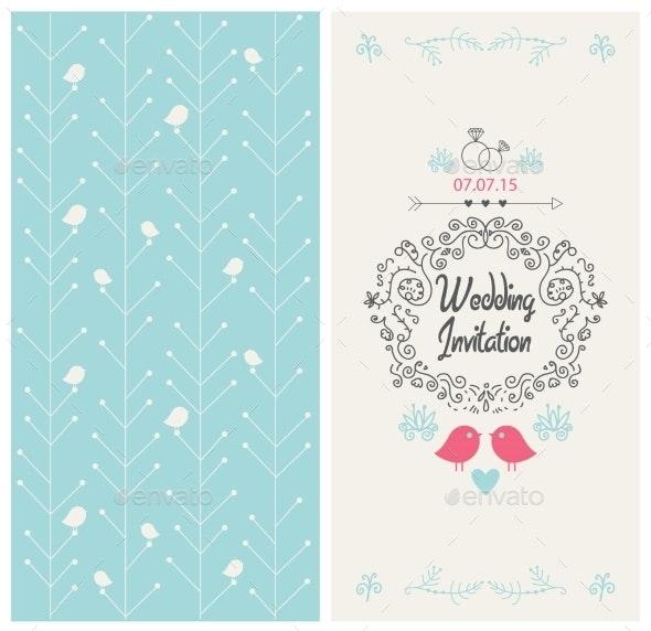 Wedding Card - Decorative Symbols Decorative