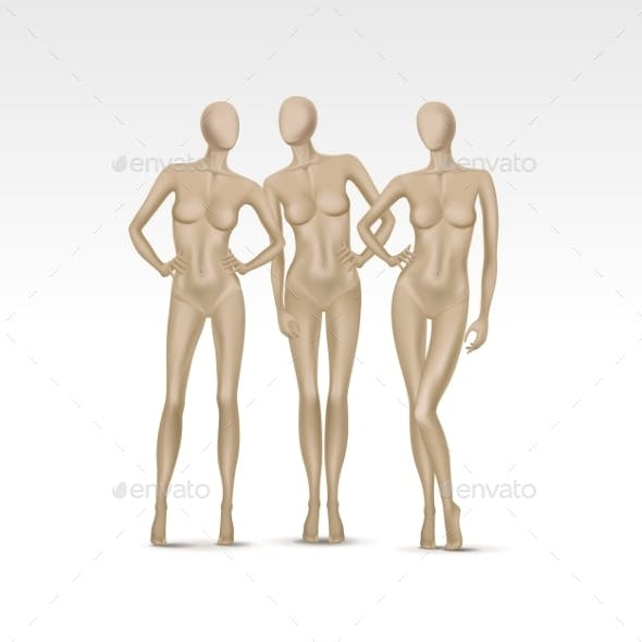 Set of Isolated Female Mannequins