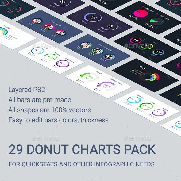 29 Donut Charts Pack