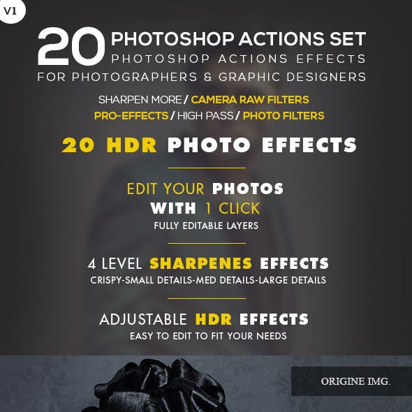 20 HDR Photo Effects V.01 - Photoshop Action