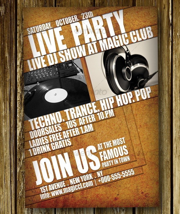 Grungy Party Poster V3 - Clubs & Parties Events