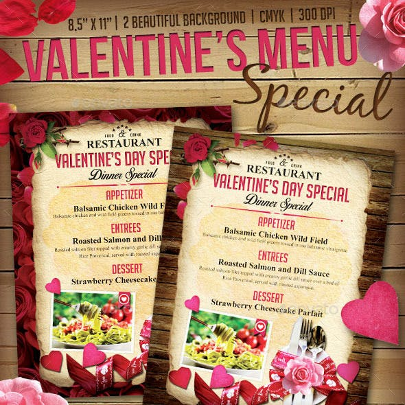 Valentine Menu Flyer Templates