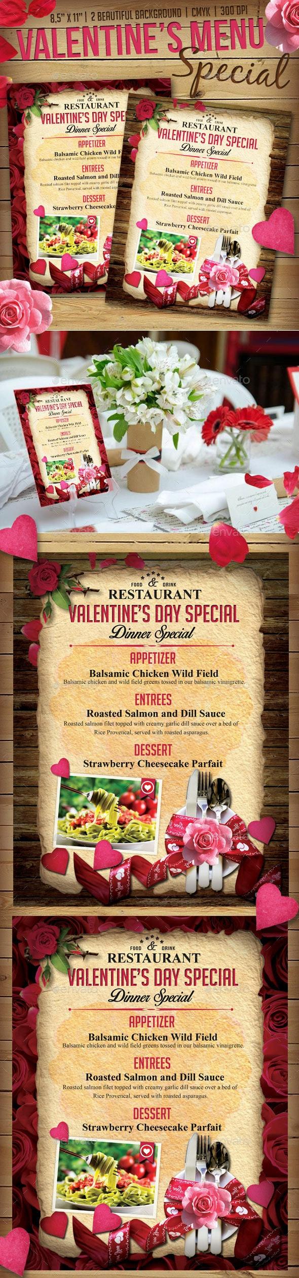 Valentine Menu Flyer Templates - Holidays Events