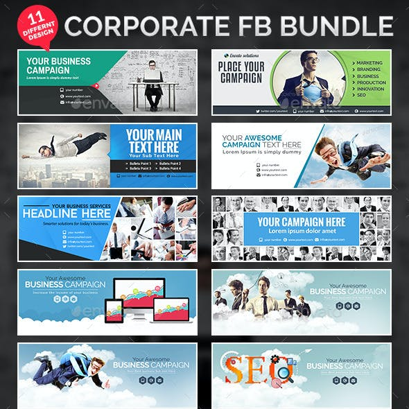 Corporate Facebook Cover Bundle - 11 Designs