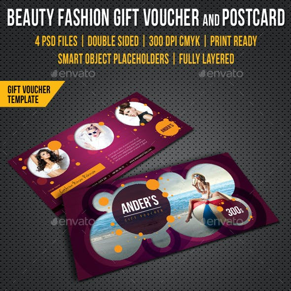 Beauty Fashion Gift Voucher and Postcard V02