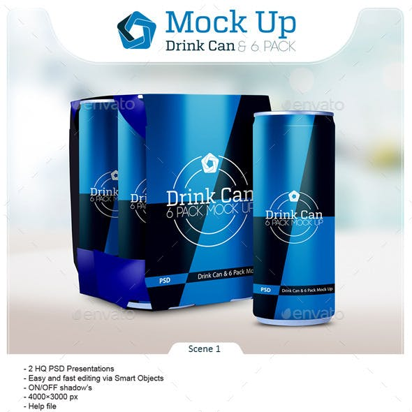 Drink Can & 6 Pack Mock up