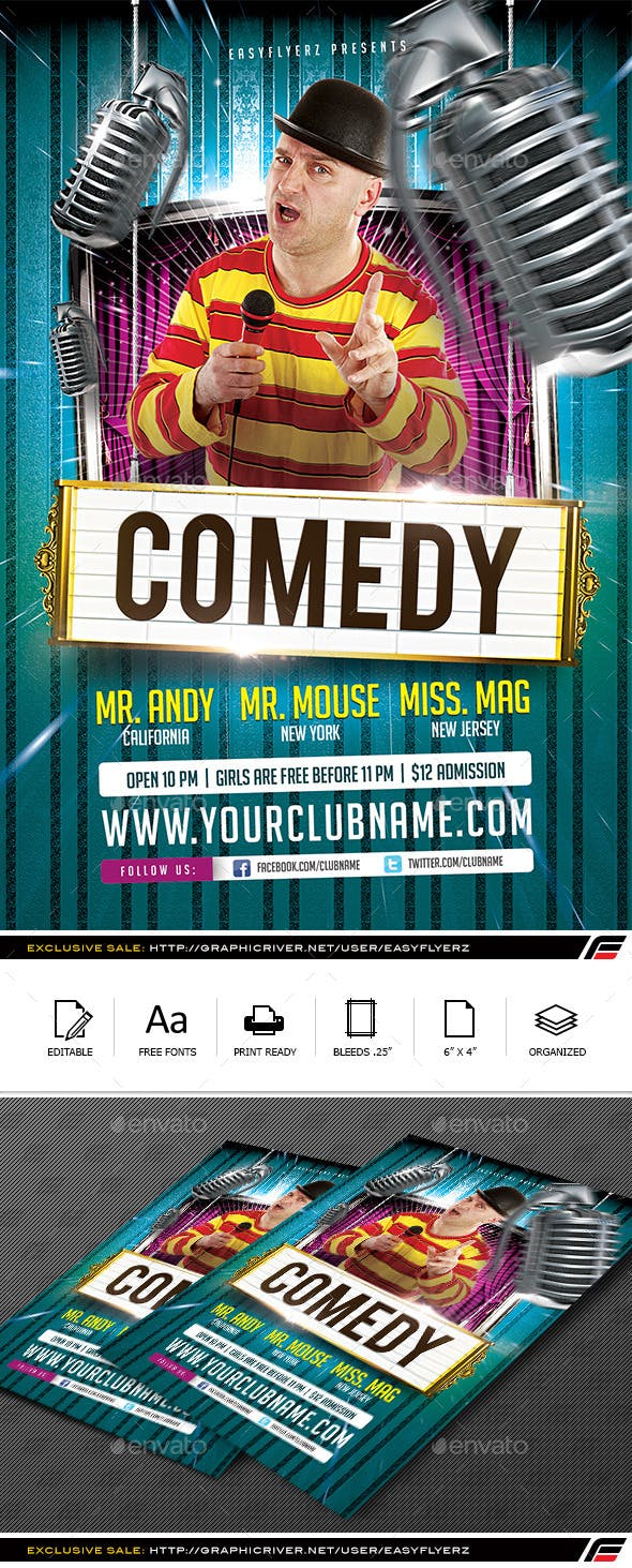 Stand Up Comedy Flyer Template Events Flyers