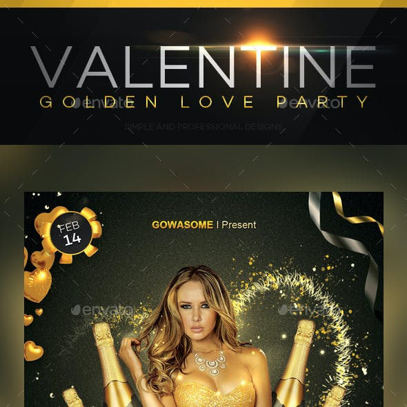 Valentine Golden Love Party Flyer