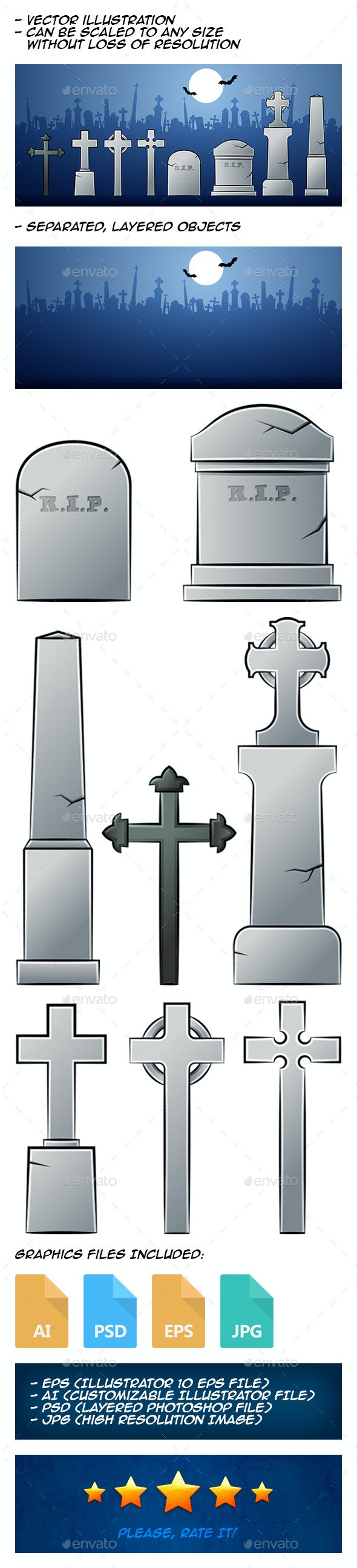 Cartoon Tombstones - Man-made Objects Objects