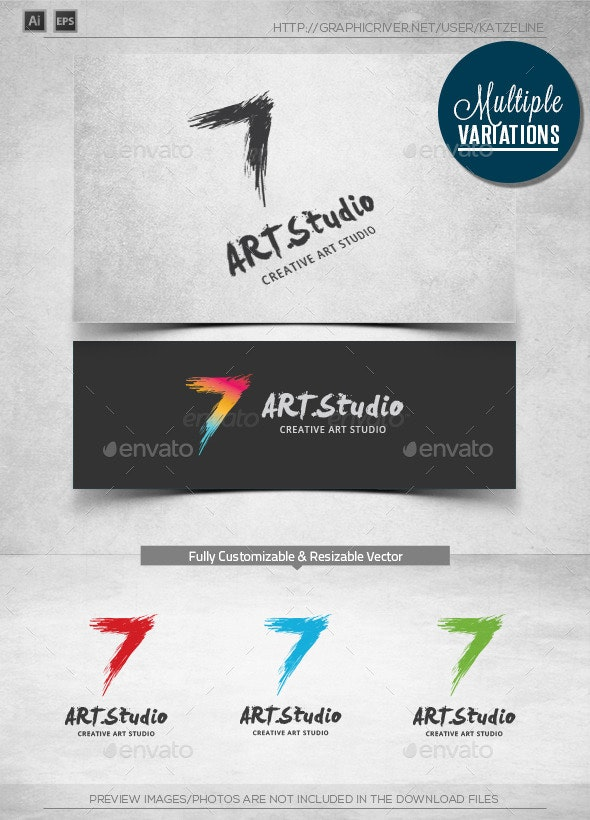 Stylish 7 - Splash Art - Logo Template