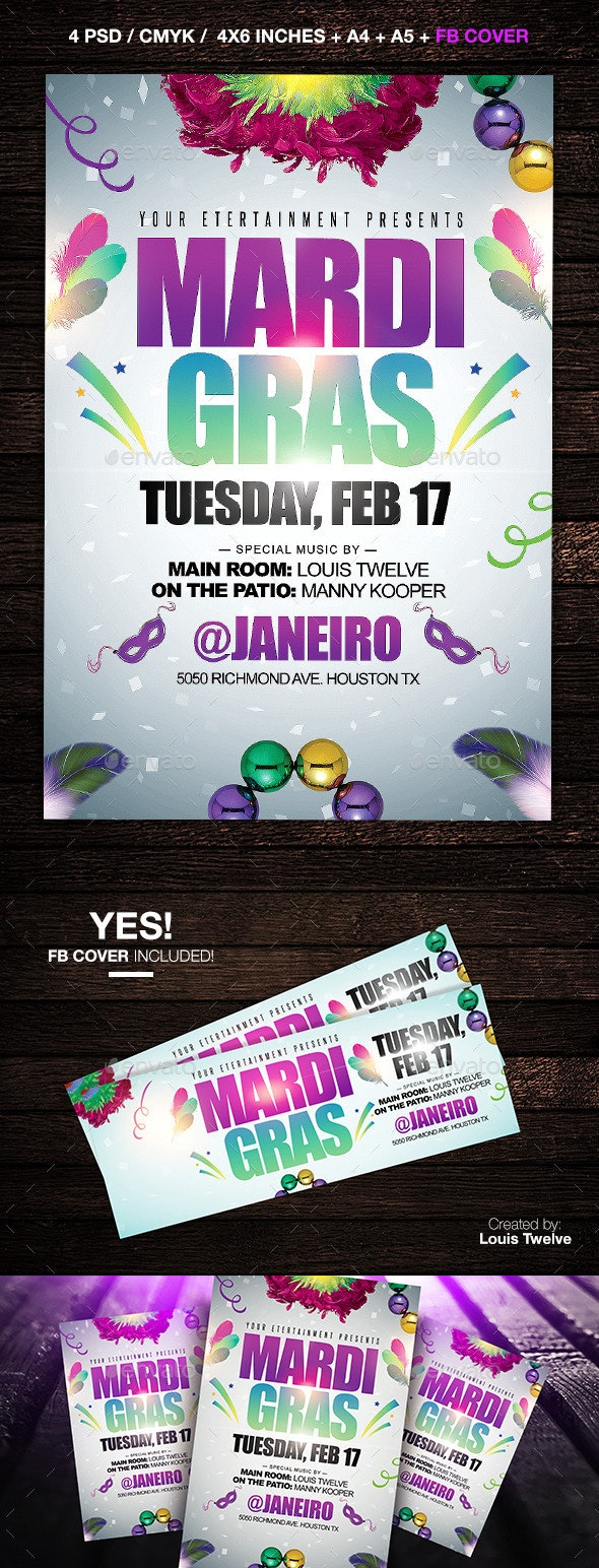 Mardi Gras or Carnival Party Flyer + FB Cover - Clubs & Parties Events