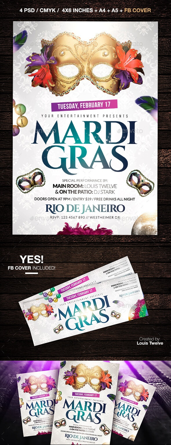 Mardi Gras White Edition Flyer + FB Cover - Clubs & Parties Events