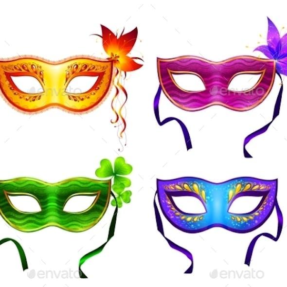Colorful Carnival Masks Set