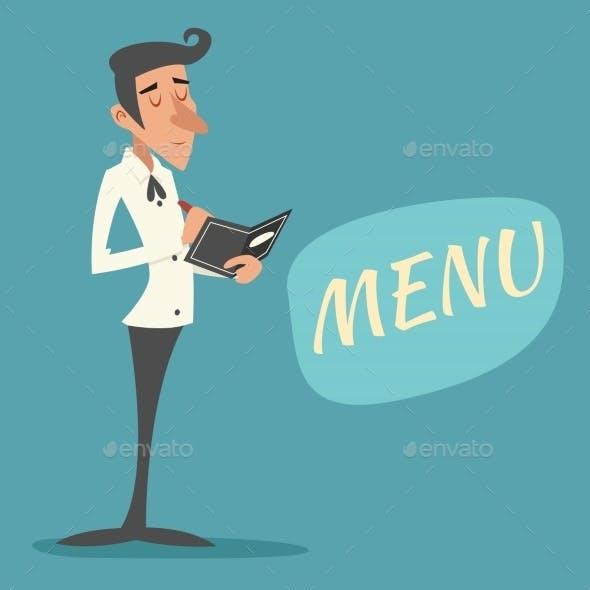 Vintage Waiter Garcon Accepts Order