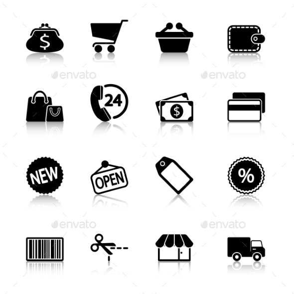 Market Icons Set with Reflection - Icons