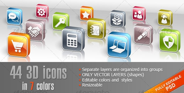 44 3D icons in shapes - Miscellaneous Web Elements