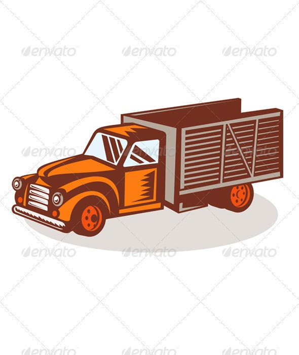 Vintage Farm Pickup Truck Retro Style - Objects Vectors