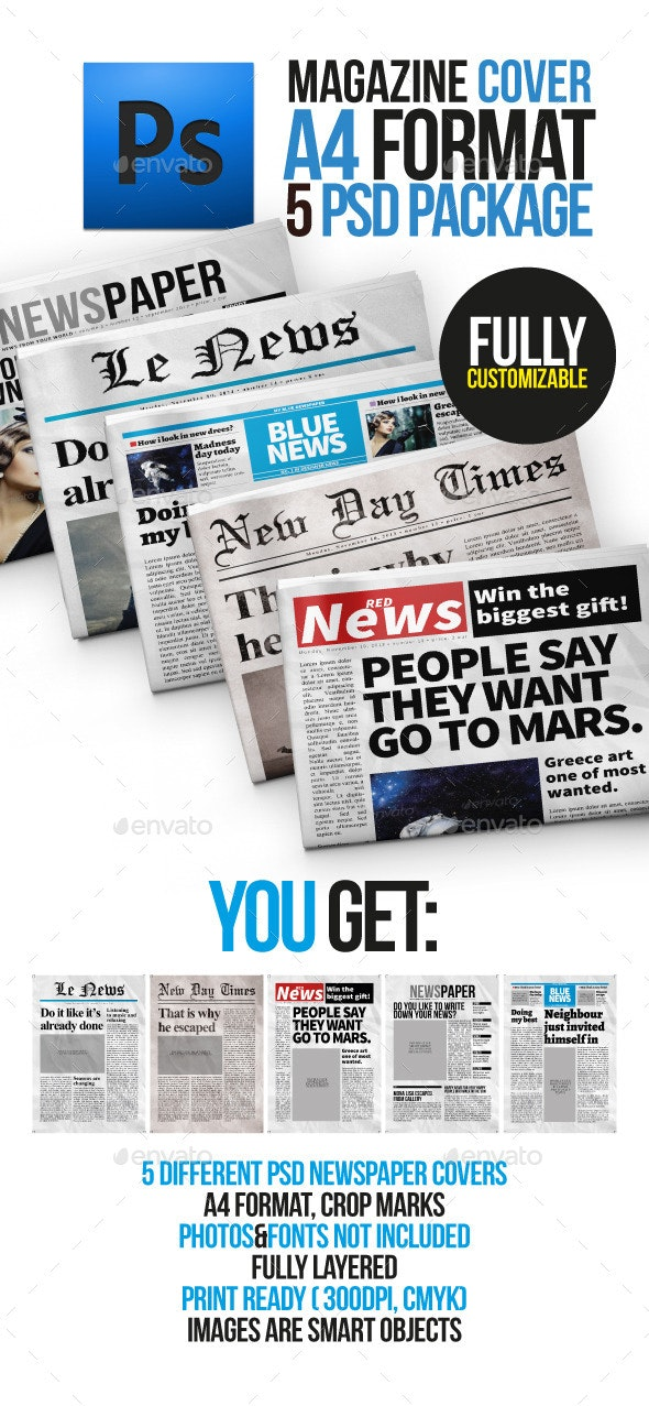 5 Newspaper Covers A4 Format - Newsletters Print Templates